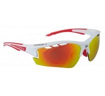 Brýle FORCE RIDE PRO bílé diop.klip,červená laser skla
