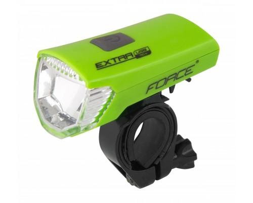 Světlo přední FORCE EXTRA USB 1 dioda, zelené