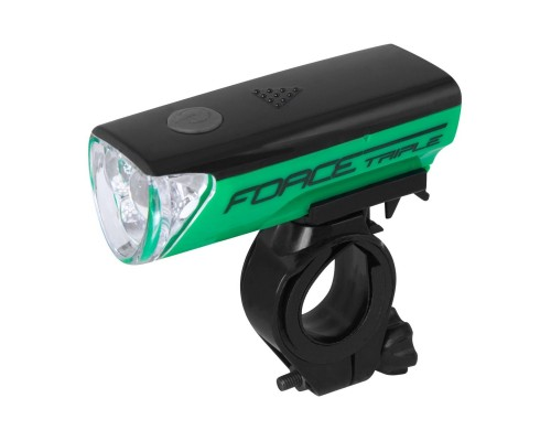 Světlo přední FORCE TRIPLE 3 diody +baterie,zelené